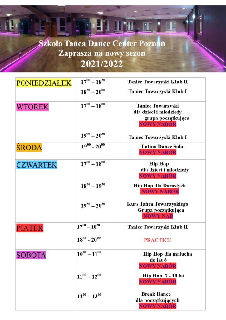 Szkoła Tańca Dance Center Poznań zaprasza na nowy sezon 2021/2022